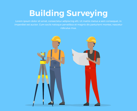 leveling instrument: Building surveying conceptual banner. Engineer surveyor flat design illustration. Preparation, planning and design of construction. Two workers in building helmets make geodetic measurement.