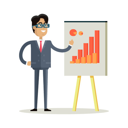 personage: Business man with black hair in business suit and tie making a presentation in front of whiteboard with infographics. Smiling young man personage in flat design isolated on white background.
