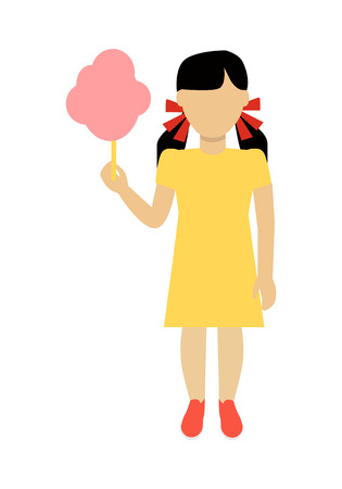 face off: Child character without face with cotton candy in yellow dress vector. Flat design. Girl template personage illustration for child concepts, fashion app,  , infographic. Isolated on white. Illustration