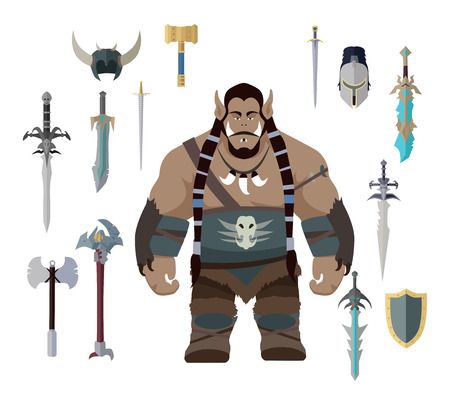 Orco con diferentes armas. Conjunto de guerrero con diferentes armas y armaduras. conjunto de juegos. personaje de fantasía estilizada. juego de objeto en el diseño plano aislado en el fondo blanco. Ilustración del vector.