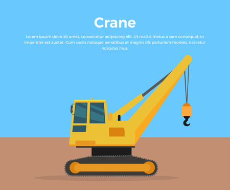 Caterpillar Crane vector banner. City building concept in flat design. Construction machines. Transport and moving materials, earthworks illustration for advertise, Infographic, web page design. Stock Vector - 59996838