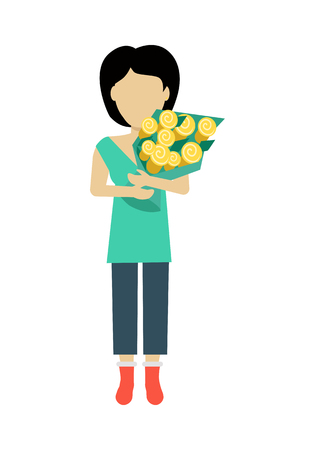 personage: Female character without face with flowers vector in flat design. Woman template personage figure illustration for dating services, womens holiday, birthday concepts,  . Isolated on white.