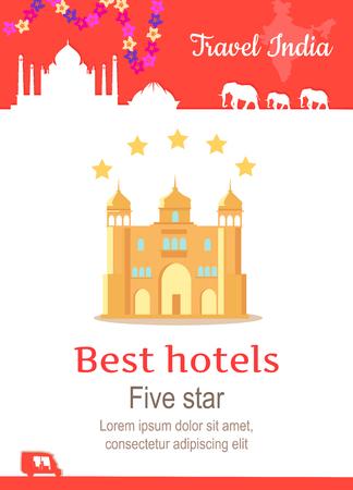 Reizen India conceptuele poster in vlakke stijl design. Zomervakantie in exotische landen illustratie. Reis naar India vector template. Beste hotels ADN vijf sterren service concept.