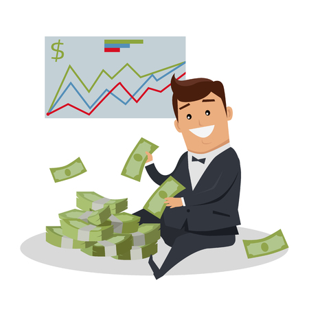 wages: Business success illustration. Flat style design vector. Smiling man in business suit sitting near pile of dollar banknotes. Investment, wages, income, credit, savings, wealth concept.