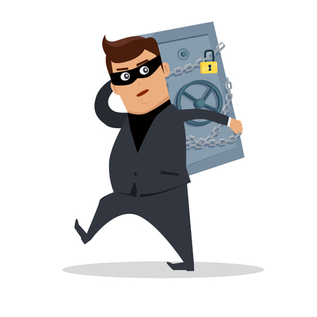 law of panama: Money stealing concept vector. Flat design. Financial crime, tax evasion, money laundering, political corruption illustration. Robbery. Man in a business suit, in mask carrying a safe on his back.