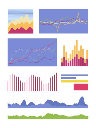 fluctuations: Set of graphic symbols for infographics. Statistic element vector collection. Graphics peaks, curves fluctuations and column diagram illustrating. For business, social, political concepts. On white.