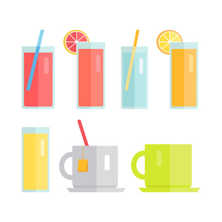 fiambres: Collection of glasses and cups vector. Flat design. Sweet summer drinks concept. Beverage, water juice tea Illustrations for icons, label, print, logo, menu design, infographics. Isolated on white. Vectores