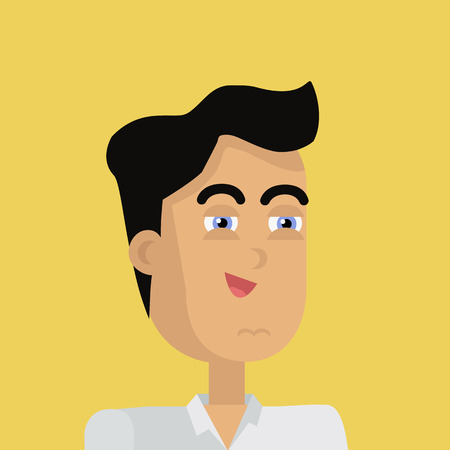 personage: Businessman avatar icon isolated on yellow background. Man with black hair in business suit and tie. Smiling young man personage. Flat design vector illustration