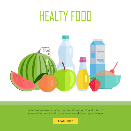 tiendas de comida: Concepto de alimentos saludables bandera de la tela. Vector de diseño plano. Ilustración de Vaus cereales alimentos, aceite, agua, leche, frutas y verduras en el fondo blanco para los cafés, tiendas, páginas web diseño granja. Vectores