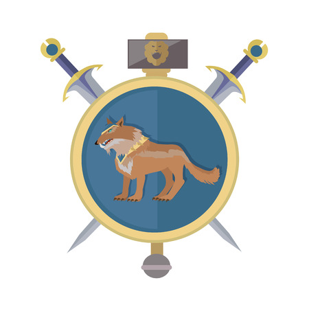 braun: Braun wolf in the gold collar. Isolated avatar icon with swords. Wolf with showing fangs. Stylized fantasy character. Game object in flat design isolated on white background. Vector illustration.