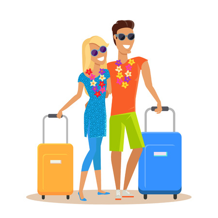 exotic woman: Couple traveling together during summer vacation vector in flat design. Honeymoon in exotic countries concept. Young man and woman with necklace of flowers embracing and holding suitcases. Isolated.