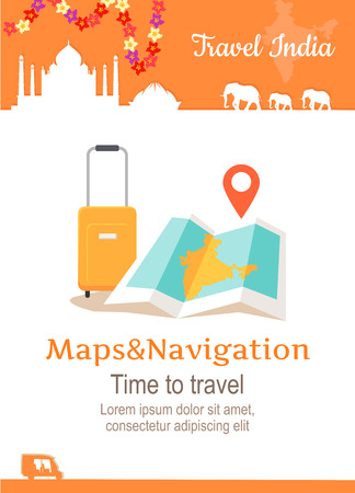 conceptual maps: Travel India conceptual poster in flat style design. Summer vacation in exotic countries illustration. Journey to India vector template. Maps and navigation in a foreign country concept.
