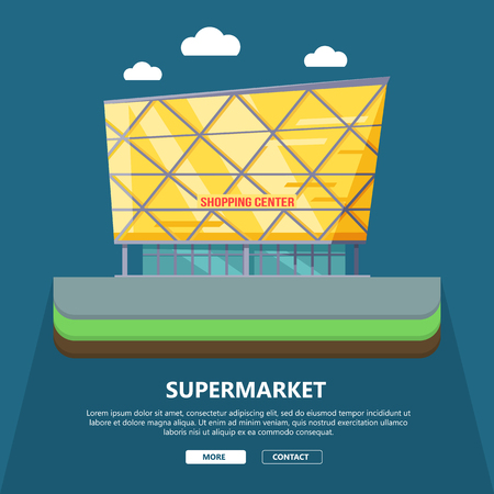 contact center: Supermarket web page template with text more and contact. Flat design. Commercial building illustration for web design, banners. Shop, shopping center, mall, supermarket, business center background Illustration