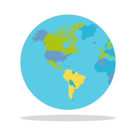 oceans: Planet Earth vector illustration. World Globe with political map. Countries silhouettes on the planet surface. Global world concept. North and South America, Pacific and Atlantic oceans on white.