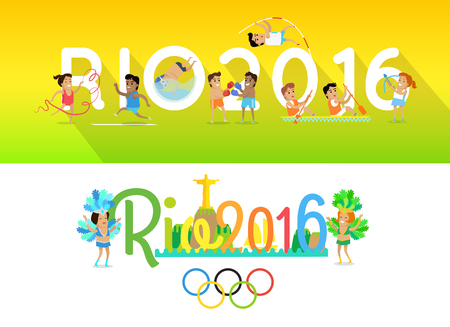 disciplines: Rio 2016 concept banners. Sport games in Brazil in 2016. Traditional world famous International competitions in summer sports. Cartoon characters athletes compete in different disciplines. Illustration