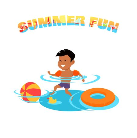 family holiday: Summer fun concept vector. Family holiday and leisure with children on seacoast. Games in the pool. Flat style design illustration. Kid swimming and have fun in water. Isolated on white background.
