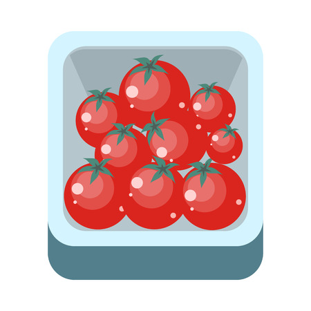 assortment: Tomatoes in tray vector in flat style design. Grocery store assortment, foods for diet, fresh fruits concept. Illustration for icons, signboards, ad, infographics design. Isolated on white.