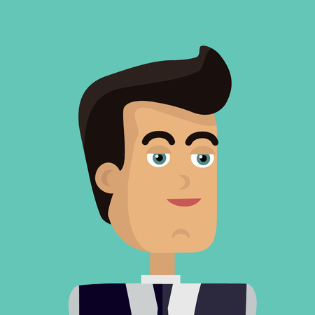 personage: Businessman avatar icon isolated on green background. Man with black hair in business suit and tie. Smiling young man personage. Flat design vector illustration Illustration