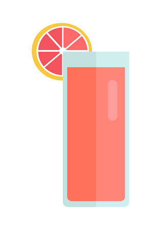 fiambres: Glass with grapefruit beverage vector in flat style design. Sweet summer drinks concept. Illustration for app icons, label, prints, logo, menu design, infographics. Isolated on white background. Vectores
