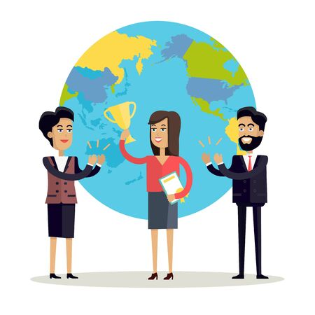 congratulating: Happy woman with winner cup. Business man and woman in business suits congratulating winner on a background with planet. People clapping hand. Smiling young characters. Flat vector illustration.