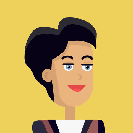 personage: Businesswoman avatar icon isolated on yellow background. Woman with black hair. Smiling young girl personage. Flat design vector illustration
