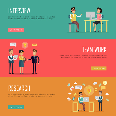 strategic management: Social people teamwork concept. Concepts for business interview, strategic management, finance research, human resources. Page website template. Banner, landing page. Flat design vector illustration