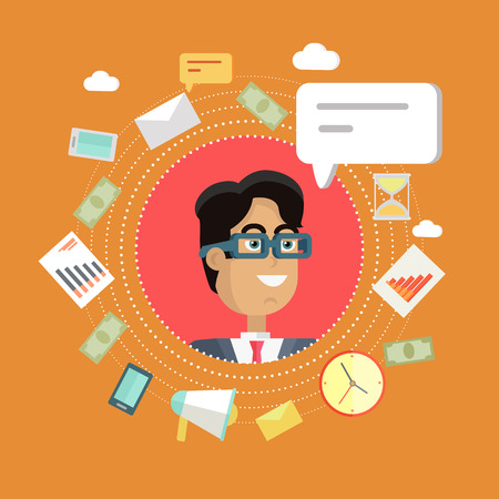 personage: Creative office background. Businessman icon with bubble. Avatars of men with devices for communication. Smiling young man personage in flat on red background. Vector illustration. Illustration
