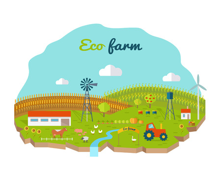 farmyard: Eco farm conceptual vector. Flat design. Landscape view of traditional ecological farm. Country idyll. Farmyard with domestic animals, houses, machines, windmill, river, fields and garden. On white. Illustration