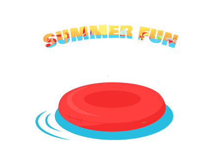 back yard: Summer fun concept vector. Flat design. Games in the water. Leisure in the back yard. Inflatable circle illustration for agencies advertising, flayers, app icons, prints. Isolated on white background.