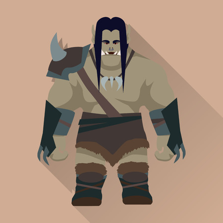 giant: Game object of orc. Orc warrior with black hair and armors in front. Stylized fantasy characters. Game object in flat design. Vector illustration.