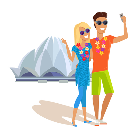 taking picture: Summer vacation in India concept. Honeymoon in exotic country vector illustration. Selfie on background of famous historical monuments. Couple taking picture near Lotus temple.