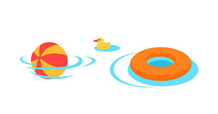 rescue circle: Inflatable toys for swimming vector. Flat style design. Family holidays, games in the water. Summer vacation, kids swimming lessons concept. Ball, rescue circle, rubber duck in te pool. On white, Illustration