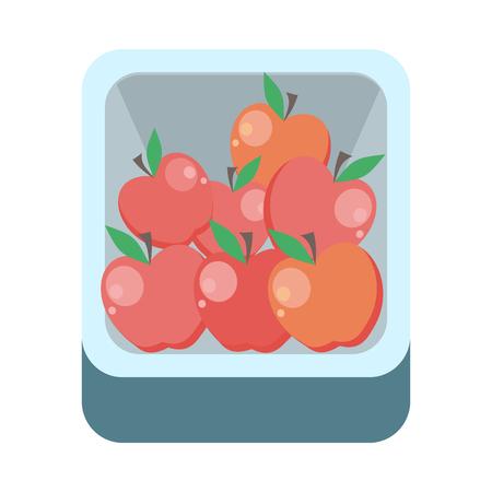 フラット スタイルのデザインのトレイ ベクトルのりんご。食料品店の品揃え、食事、新鮮な果物の概念のための食品。アイコン、看板、広告イラス
