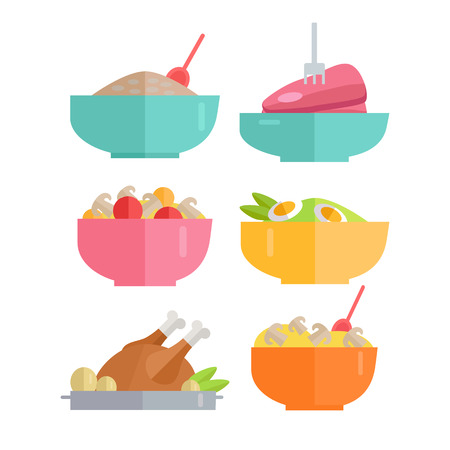 crisp: Set of Traditional Dishes Vectors. Flat design. Healthy eating concept. Porridge, steak, salad, poultry pictures for for culinary recipes, cafe menu, cooking, diet illustrating.