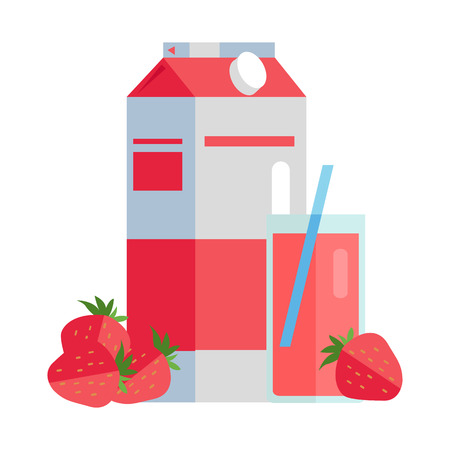 Strawberry juice vector illustration. Flat design. Paper pack with strawberries and glass full of juice. Ecological clean packaging concept for signboard, icons,  or web design, infographics.