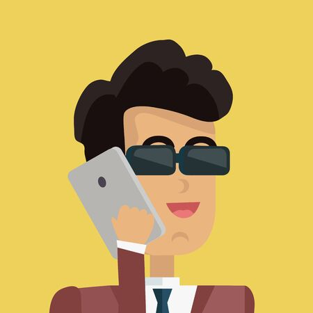 personage: Businessman avatar icon isolated on yellow background. Man in sunglasses with black hair in business suit and tie holds phone to his ear. Smiling young man personage. Flat design vector illustration Illustration