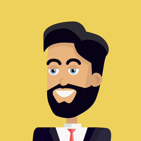 personage: Businessman avatar icon isolated on yellow background. Man with black hair and beard in business suit and tie. Smiling young man personage. Flat design vector illustration Illustration