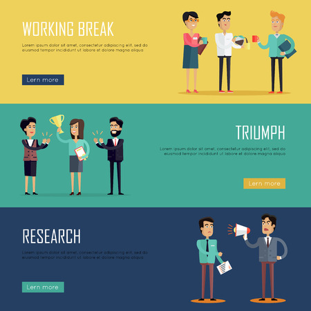 the triumph: Social teamwork concept. Concepts for business research, strategic management, finance, team triumph, working break. Page website design template in flat. Banner, landing page. Vector illustration. Illustration