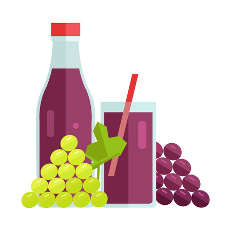Bottle and glass with grape beverage. Vector in flat design. Sweet summer drink, fresh juice concept. Illustration for icons, labels, prints, , menu design, infographics. Isolated on white.