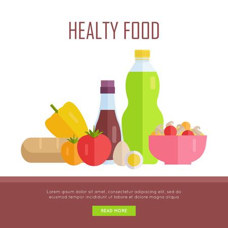 tiendas de comida: Concepto de alimentos saludables bandera de la tela. Vector de diseño plano. Ilustración de varios alimentos de jugo, salsa de tomate, pan, ensaladas, frutas y verduras en el fondo blanco para los cafés, tiendas, páginas web diseño granja. Vectores
