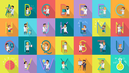 childrens book: Alphabet science concept. Flat design. ABC vector with scientists at work. Simple colored letters and scientist character collection. Concepts for childrens book, scientific research illustrating.