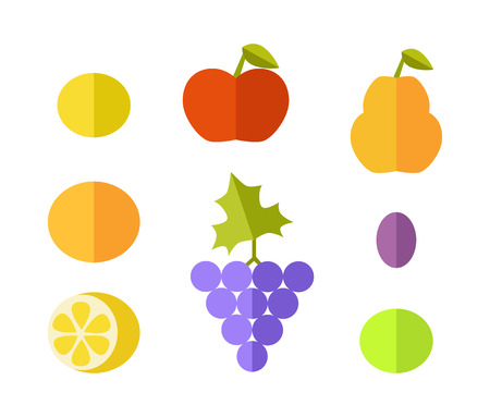white grape: Set of fruits vectors. Flat style design. Lemon, grape, apple, grapefruit, melon, plum, pear, orange illustrations for conceptual banners, icons infographics Isolated on white background