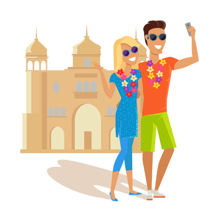 couple in summer: Summer vacation in India concept. Honeymoon in exotic country vector illustration. Selfie on background of famous historical monuments. Couple taking picture near asian historic building.