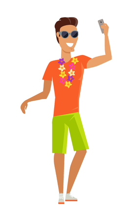 sunglasses recreation: Young man with a necklace of tropical flowers makes a selfie vector illustration. Tourists take pictures on vacation in tropical country. Flat style design concept. Isolated on white.