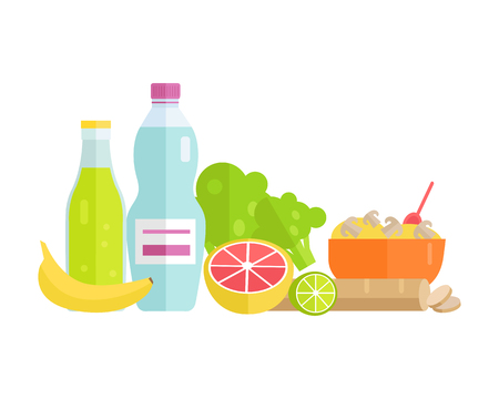 illustrating: Group of food vector illustrations. Flat design. Collection of various food cereal, bread, soda, water, fruits and vegetables on white background for diet, menus, signboards illustrating.