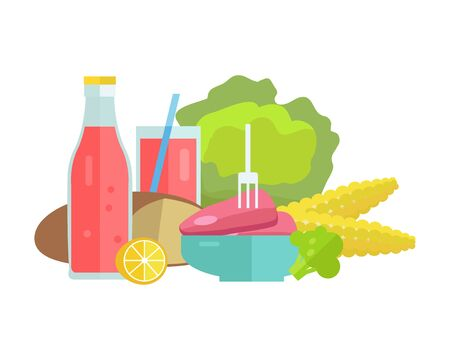 meat diet: Group of food vector illustrations. Flat design. Collection of various food cabbage, corn, bread, lemon, broccoli, soda, meat on white background for diet, menus, signboards illustrating web design