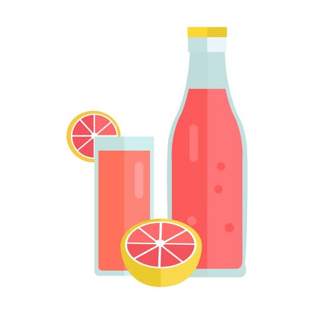 summer drink: Bottle and glass with citrus beverage. Vector in flat style design. Sweet summer drink concept. Illustration for icons, labels, prints, , menu design, infographics. Isolated on white background.