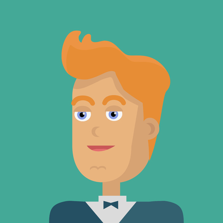 personage: Businessman avatar icon isolated on green background. Man with yellow hair in business suit and tie. Smiling young man personage. Flat design vector illustration