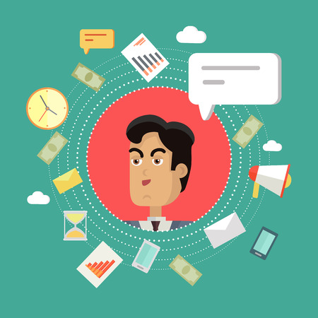 personage: Creative office background. Businessman icon with bubble. Avatars of men with devices for communication. Smiling young man personage in flat on green background. Vector illustration. Illustration