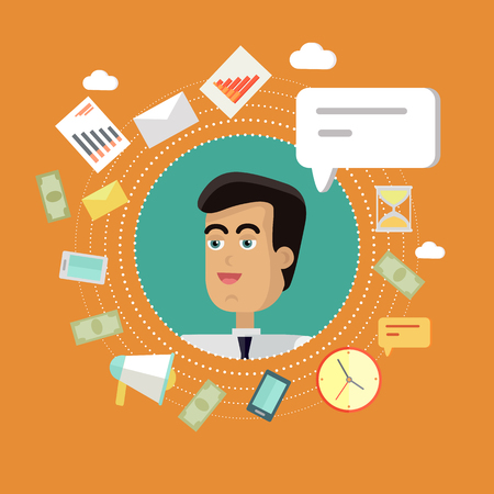 personage: Creative office background. Businessman icon with bubble. Avatars of men with devices for communication. Smiling young man personage in flat on orange background. Vector illustration.
